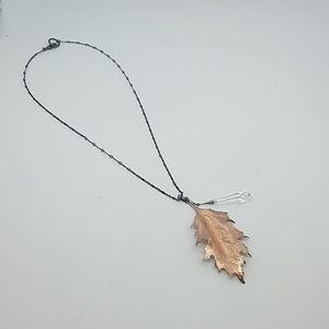 Fire from heaven rose gold leaf necklace New